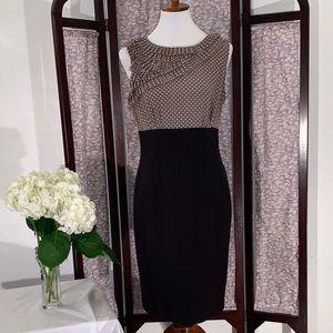 Anne Klein black with polka dots sleeveless dress.